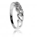 Stříbrný prsten se zirkony (cubic zirconia) smyčky