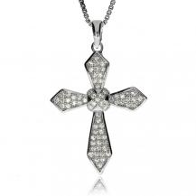 Stříbrný přívěsek kříž se zirkony (cubic zirconia) v povrchové úpravě rhodiované stříbro