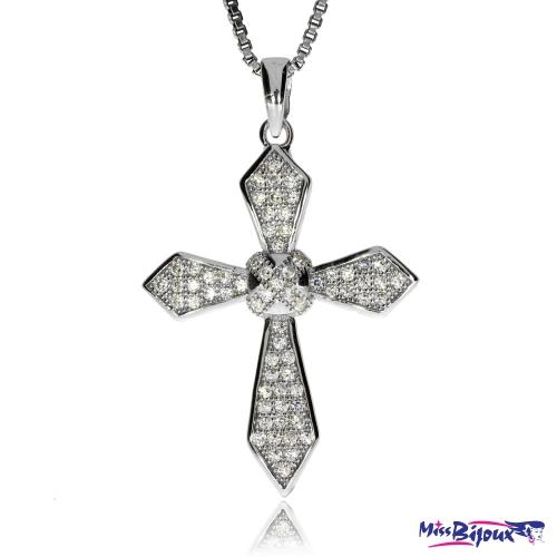 Stříbrný přívěsek - Kříž se zirkony (cubic zirconia)