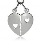 Stříbrný přívěsek rozlamovací srdce z leštěného stříbra