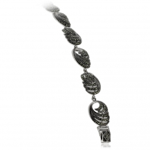 Stříbrný náramek s markazity, spirála