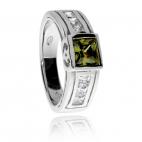 Stříbrný prsten se zirkony (cubic zirconia) - zelený čtverec