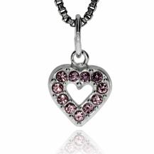 Stříbrný dětský přívěsek - Srdce posázené fialovým křišťálem