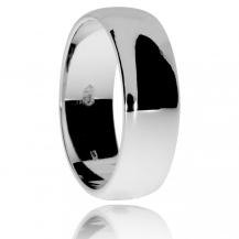 Stříbrný snubní prsten, široký zaoblený