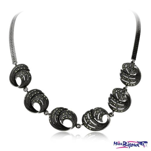 Stříbrný náhrdelník s markazity, spirálové díly