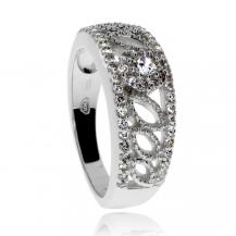 Stříbrný prsten se zirkony (kubická zirkonie), širší a bohatě zdobený