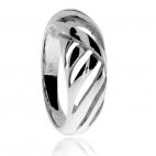 Stříbrný prsten, oblá linie s průřezy
