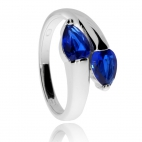 Stříbrný prsten se syntetickými kameny, modré kapky