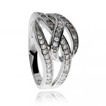 Stříbrný prsten se zirkony (kubická zirkonie), tři linie