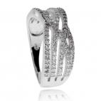 Stříbrný prsten se zirkony (kubická zirkonie), pět zkřížených řad
