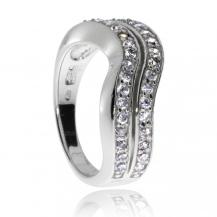 Stříbrný prsten se zirkony (kubická zirkonie) - Dvě vlnky