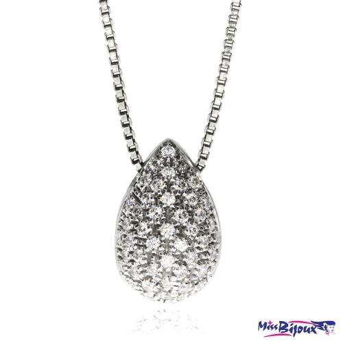 Stříbrný náhrdelník s přírodními diamanty- Kapka