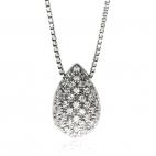 Stříbrný náhrdelník s přírodními diamanty ve tvaru kapky