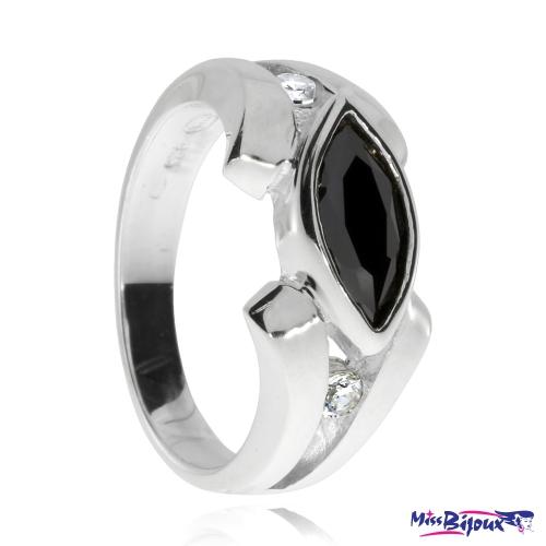 Stříbrný prsten se zirkony (kubická zirkonie) - Černá markýza