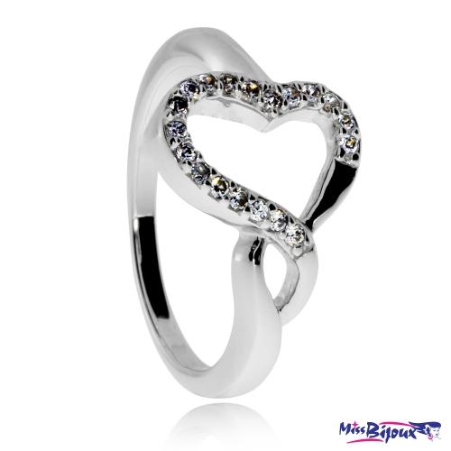 Stříbrný prsten se zirkony (kubická zirkonie) originální srdíčko