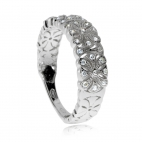Stříbrný prsten se zirkony (kubická zirkonie) květinový motiv
