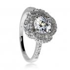 Stříbrný prsten se zirkony (kubická zirkonie) výrazný kámen ve spleteném kroužku