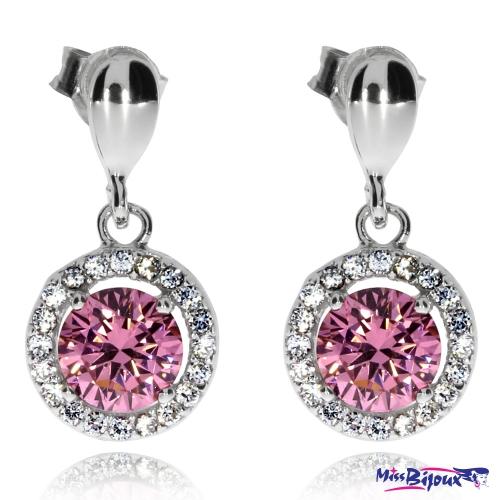 Stříbrné náušnice se zirkony (kubická zirkonie) - Růžový kámen v kruhu