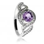 Stříbrný prsten se zirkony (kubická zirkonie) a ametystem, dvě vlnky