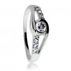 Stříbrný prsten se zirkony (cubic zirconia) kulatý kámen ve dvou liniích