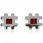 Stříbrné náušnice s červeným zirkonem (kubická zirkonie), dvojitý křížek