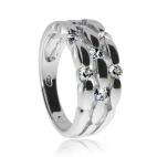 Stříbrný prsten se zirkony - širší zdobený kroužek