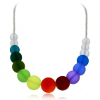 Bižuterní náhrdelník duhové kuličky - ručně vinuté perle