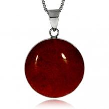 Stříbrný přívěsek s korálem - Jednoduchý kulatý červený kámen