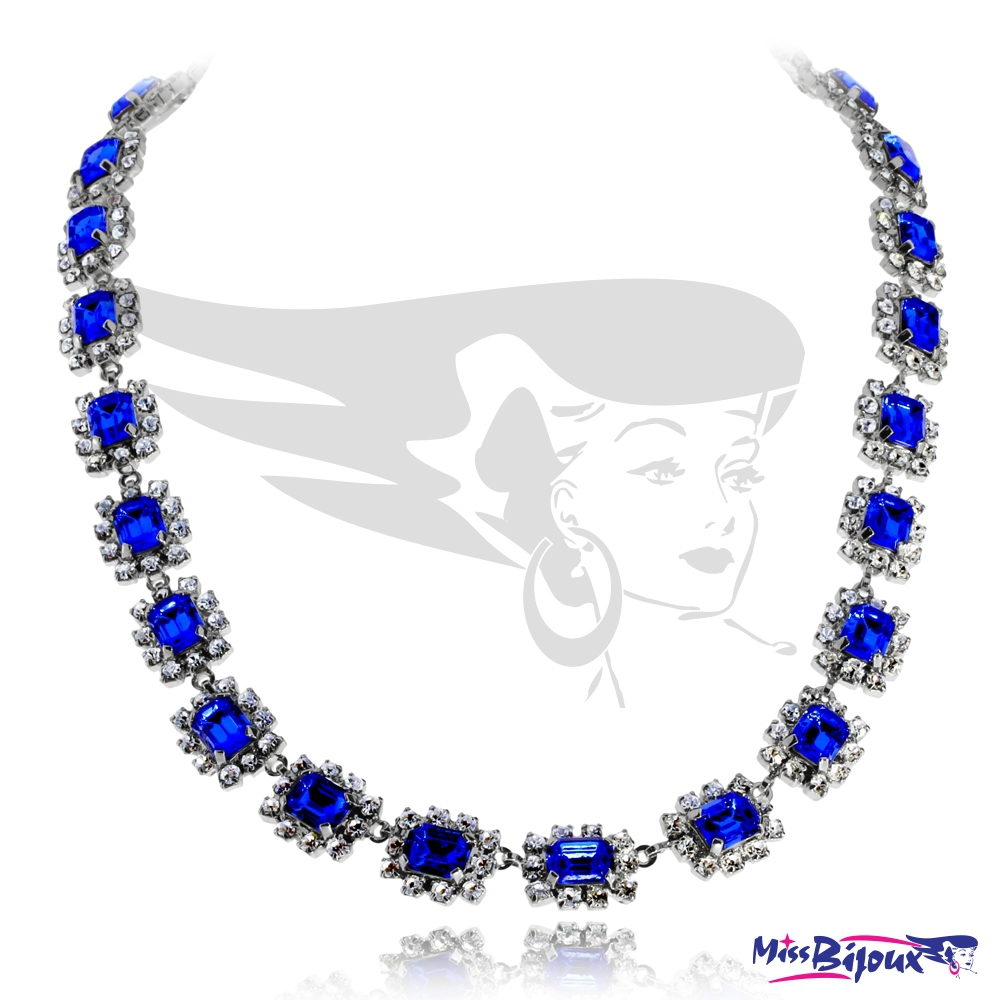 e2cbd45a8 Bužuterní náhrdelník štrasový - Modrý