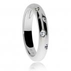 Dámský stříbrný prsten s přírodními diamanty - Střídavě uspořádané diamanty
