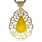 Jantarový přívesek ozdobený zlacenou pavučinou ze stříbra - žlutá kapka