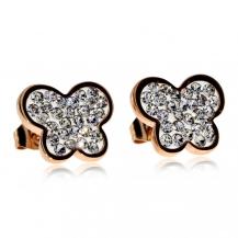 Ocelové náušnice Preciosa Butterfly Crystal 7156P00