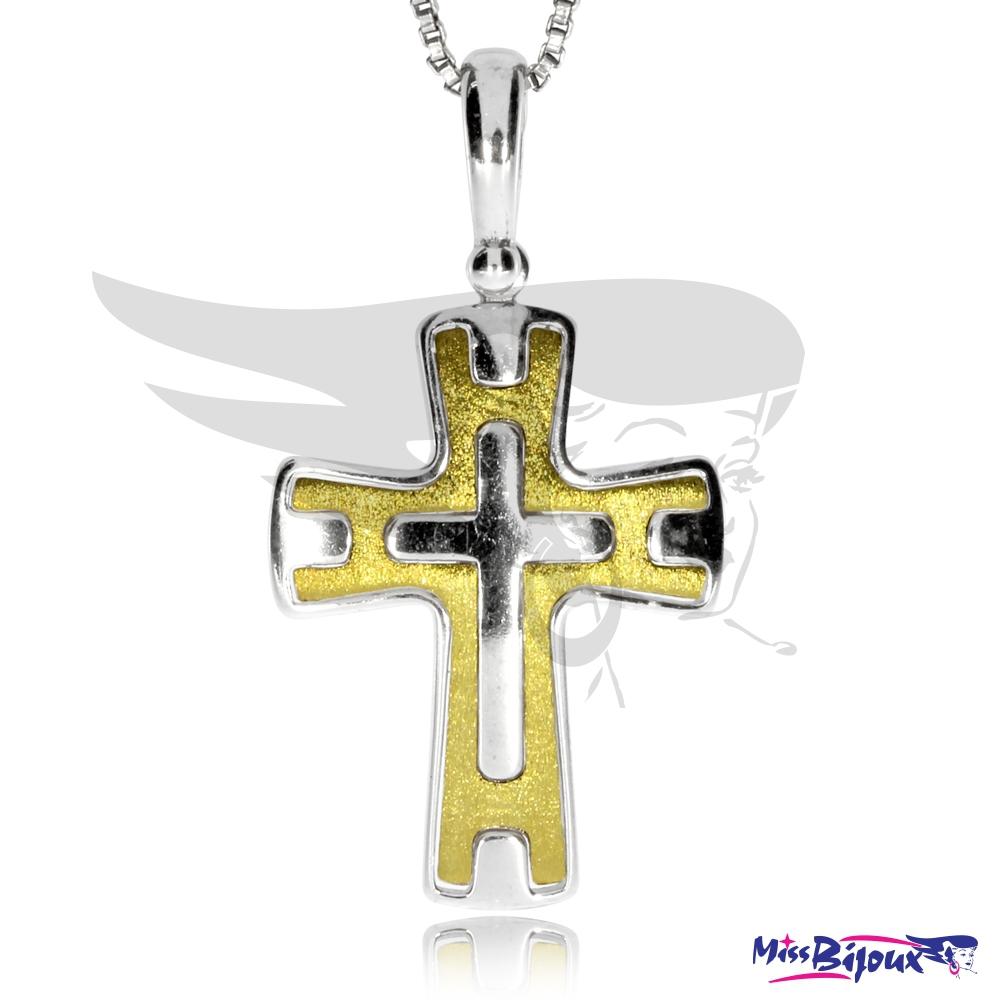 3168bb6cdae96 Stříbrný přívěsek ve tvaru kříže částečně zlacený