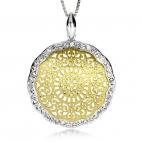 Stříbrný přívěsek s krystaly Swarovski na středu zlacený
