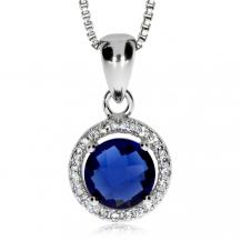 Stříbrný přívěsek se zirkony (cubic zirconia) a modrým středovým kulatým kamenem