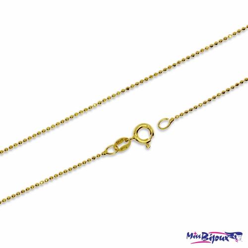 Stříbrný řetízek z broušených kuliček pozlacený - 60 cm