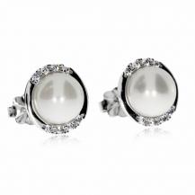 Stříbrné náušnice se zirkony (kubická zirkonie) a perlami (syntetická perla