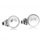 Stříbrné náušnice - Skleněné kuličky v čiré barvě