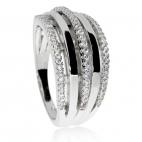 Stříbrný prsten se zirkony - Tři zdobné linie (cubic zirconia