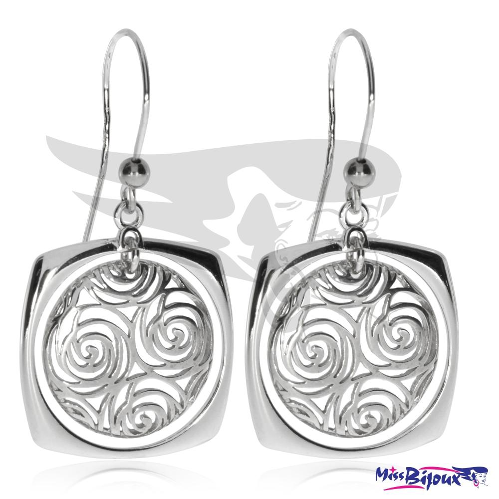 Stříbrné náušnice na háček s motivem drobných spirál ca00a8427e8