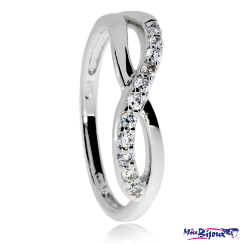 Stříbrný prsten se zirkony (cubic zirconia) - Infinity
