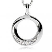 Stříbrný přívěsek se zirkony (cubic zirconia) - Tvarovaný kroužek