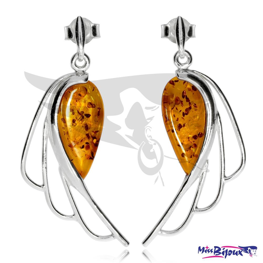 Náušnice andělská křídla s jantarem - MissBijoux.cz 286938ba0fb