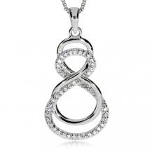Stříbrný přívěsek - Zdvojené nekonečno (Infinity) se zirkony (cubic zirconia
