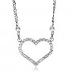 Stříbrný náhrdelník - Srdíčko z kamínku s ozdobými perličkami na řetízku