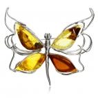 Stříbrná brož - Motýlek s jantarovými křídly