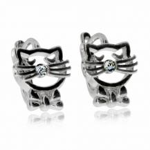 Stříbrné dětské náušnice - Kočky s čirým kamínkem
