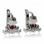 Dětské stříbrné náušnice - Žabky s červeným kamínkem