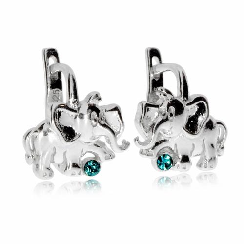 Dětské stříbrné náušnice - Sloníci s tyrkysovým kamínkem
