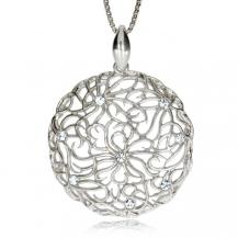 Stříbrný přívěsek - Květinový vzor v kruhu